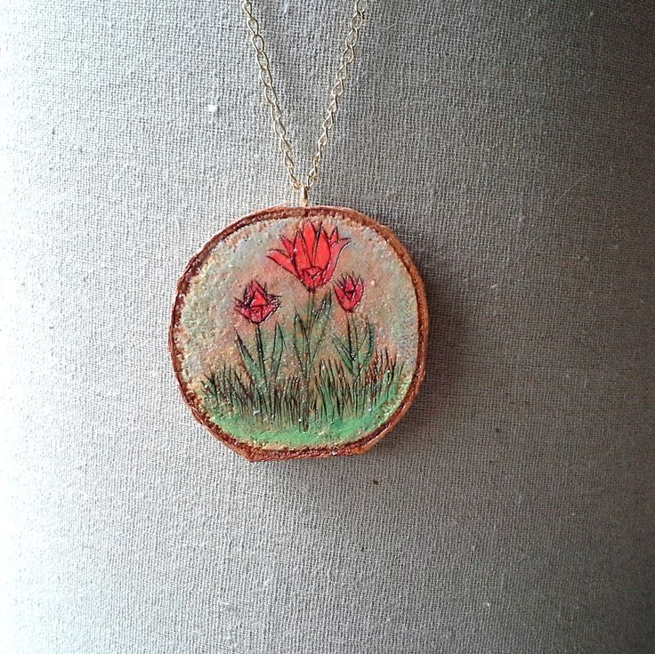 Tulips in the Grass, Woodburned live edge birch pendant necklace, 3 Red blooms with green grass and stems, gold toned chain and clasp, by JensDreamDesigns on Etsy