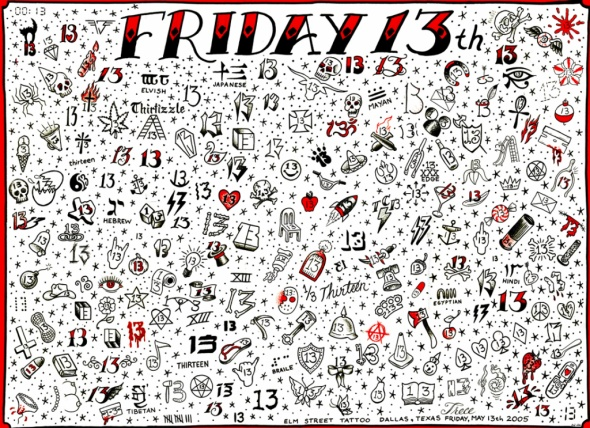 Friday the 13th tattoo chart. I would love to get one of these this upcoming Friday the 13th.