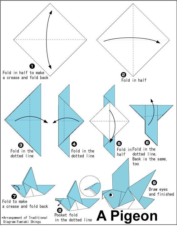 Origami Pigeon - easiest bird