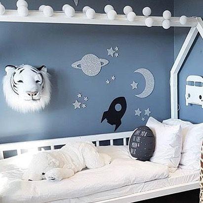 En fin dag er i ferd med å bli natt ... Sov godt!✨ Veggdekoren Outer space finnes på lager, og er virkelig helt utrolig fin! Cred: @interiormamma87 #kidsparadise #thatsmine #outerspace #veggdekor #verdensrommet #planet #måne #romrakett #rakett #måneogstjerner #barnerom #barnerommet #godnatt