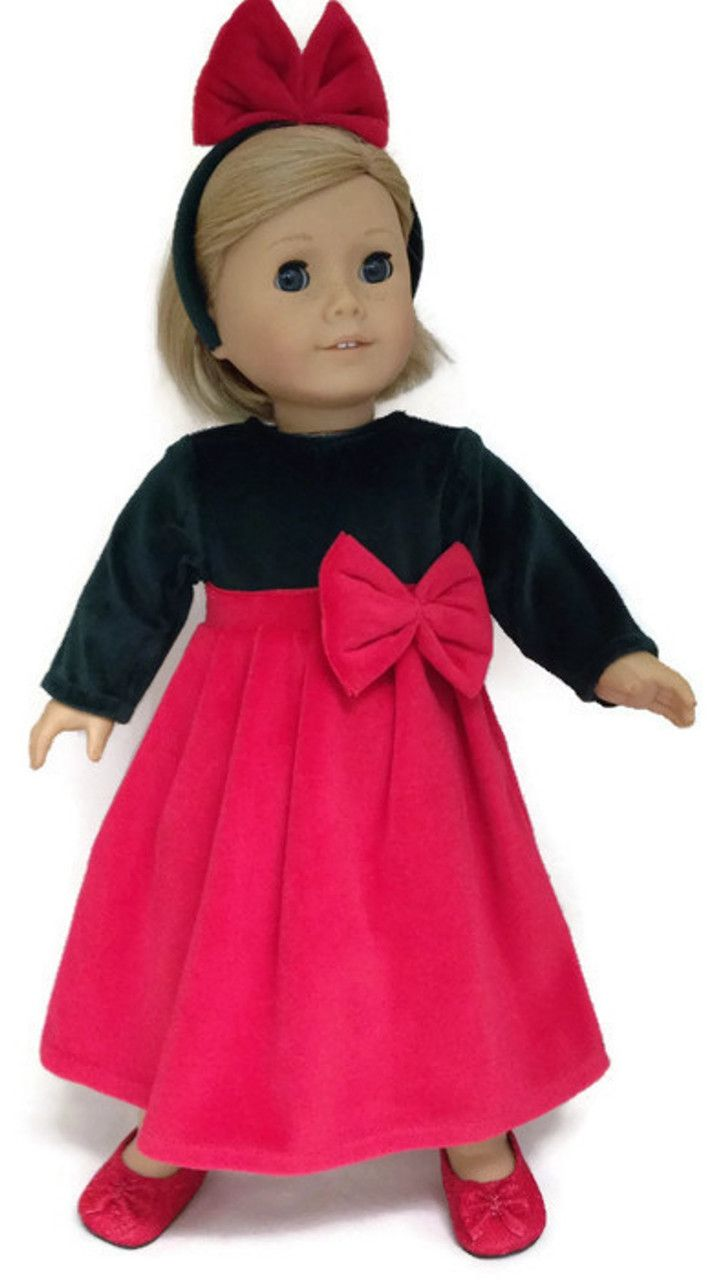 Dark Green & Red Velour Dress with Bow - Dori's Doll Boutique