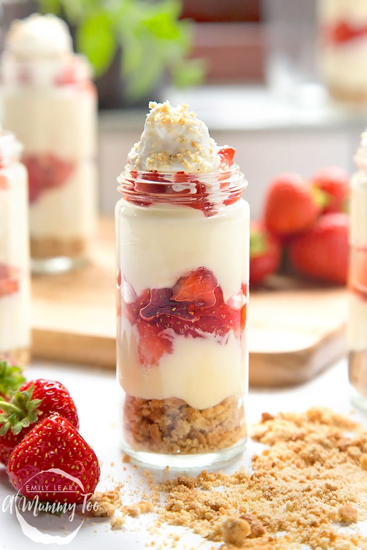 Strawberry cheesecake shots with a beautifully crumbly base, served and stored in pots for an amazing after dinner dessert or a grab and go snack.