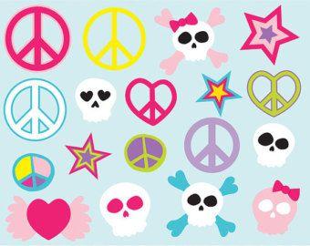 peace, love, stars & cute skulls