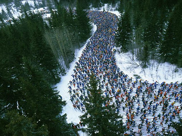 Vasaloppet: cross-country ski race, 90 km, first Sunday of March in Dalarna between Sälen and Mora. Oldest, longest cross-country w/some 15,500 skiers, commemorates Vasa's importuned return from Sälen (1530?) & the beginning of the conflict that led to Sweden become its own nation & Vasa its first king