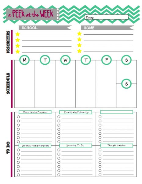 Peek at the Week: A Weekly Planner for Teachers Blog Post and Free Download Worksheet to help keep you organized. I definitely need this in the classroom!