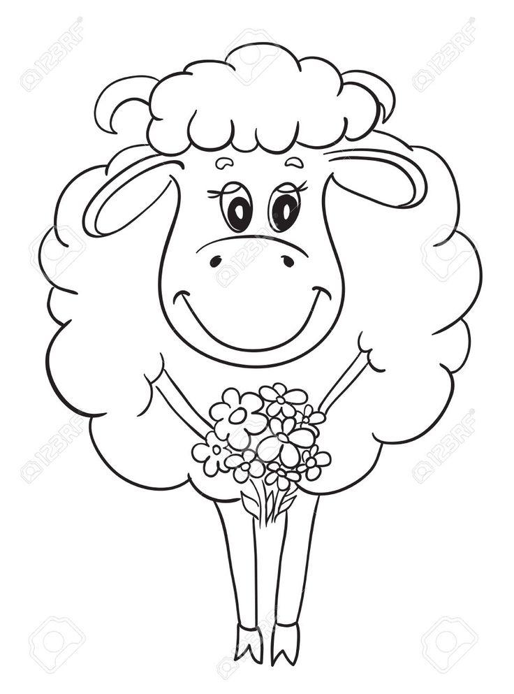 Забавный овец с цветами, эскиз для вашего дизайна Клипарты, векторы, и Набор Иллюстраций Без Оплаты Отчислений. Image 23350264.