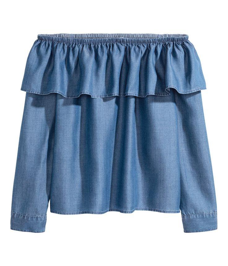 Off-Shoulder-Bluse aus Lyocell | Blau | Damen | H&M DE