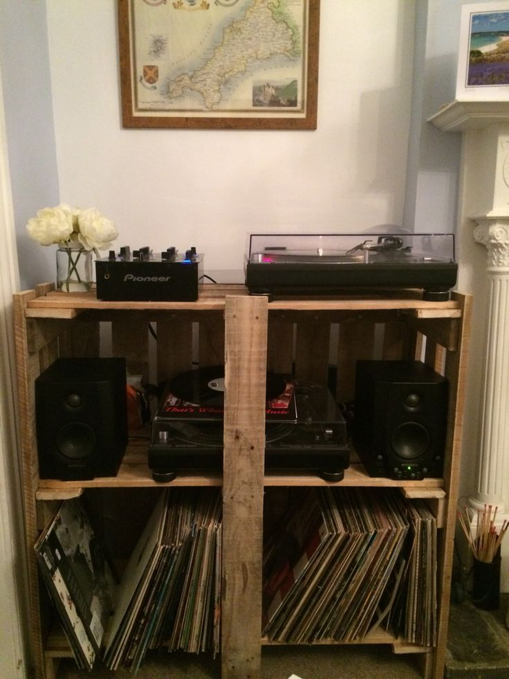 Pallet Record Player Table Stand Rustic Home Furniture Storage