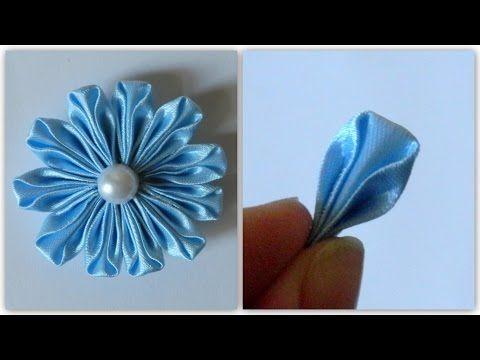 Цветы из лент Интересный лепесток канзаши - YouTube