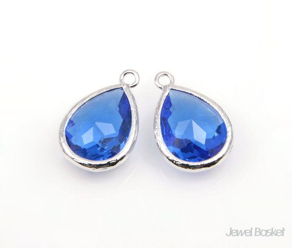 - Highly Polished Rhodium plated Frame (Tarnish Resistant) - Cobalt Blue Color Glass - Brass and Glass / 11.5mm x 17mm - 2pcs / 1pack