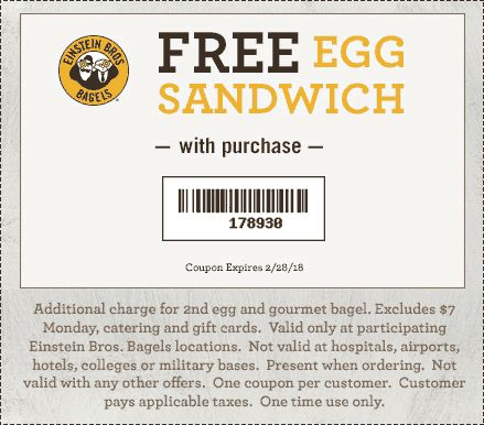 185 best couponing 101 images on pinterest einstein bros bagels coupon einstein bros bagels promo code from the coupons app second egg sandwich free at einstein bros bagels january fandeluxe Gallery