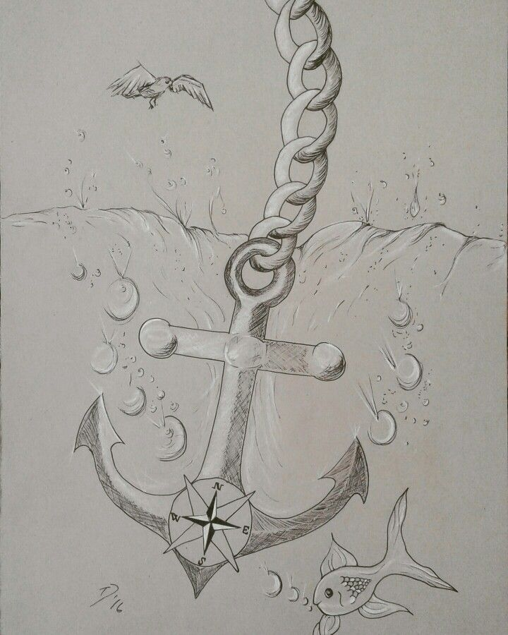 Anchor under the sea  With Pitt Pen and White  On Grey Sugar Paper size A3