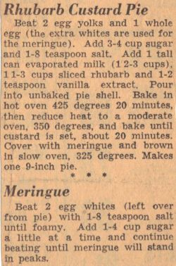 Vintage Clipping For Rhubarb Custard Pie