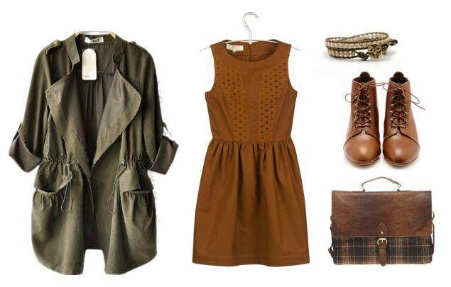 una parka de estilo mini, combinada también con un mini vestido, todo en una línea muy femenina.
