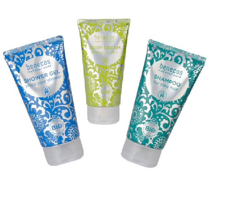 A selection of Benecos organic and natural Skincare collection - Body Cream, Shower gel and Shampoo.