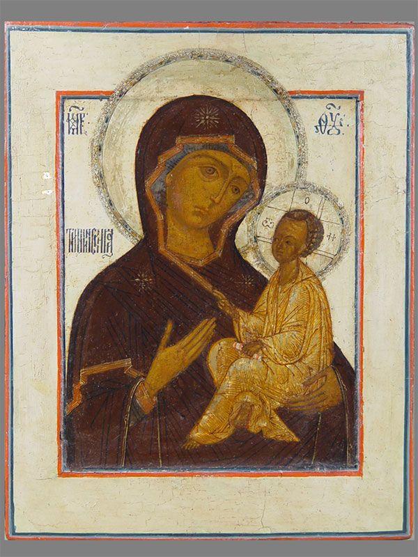 Антиквариат. антикварная Икона «Богоматерь Тихвинская», XVIвек