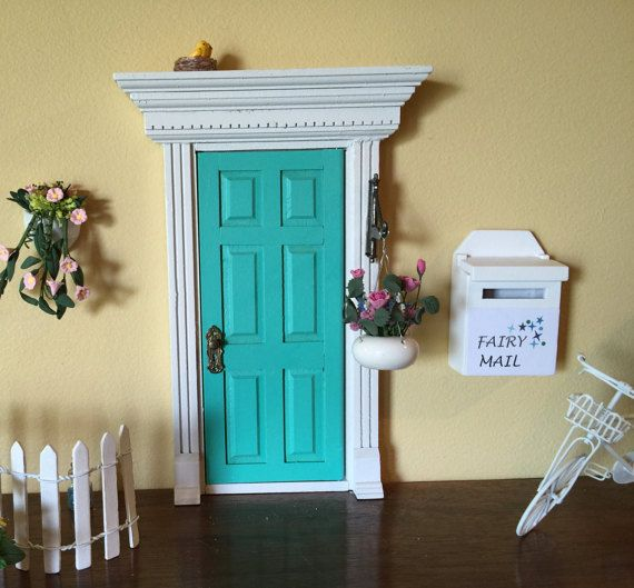 OMG, this is such a cute idea for a little girl.  Aqua Blue Fairy Door that Opens, Victorian Opening Fairy Door, DIY 6 Panel Fairy Door, Tooth Fairy Door that Opens, Fairy Garden Party Favor