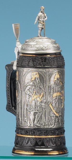 CRUSADERS STEIN - Traditional Stoneware & Pewter Beer Steins -