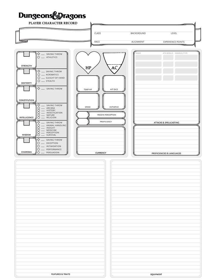 how to make a 5e character sheet