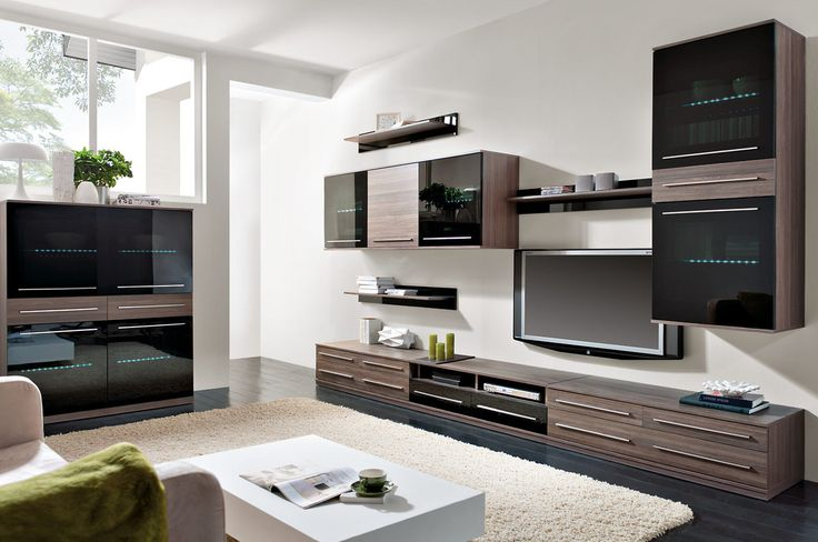Entertainment center LIKE with LED light, tinted glass and chrome handles