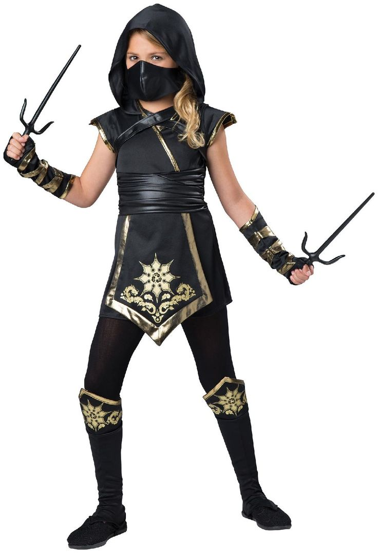 PartyBell.com - Gold #Ninja Girl - Child Costume