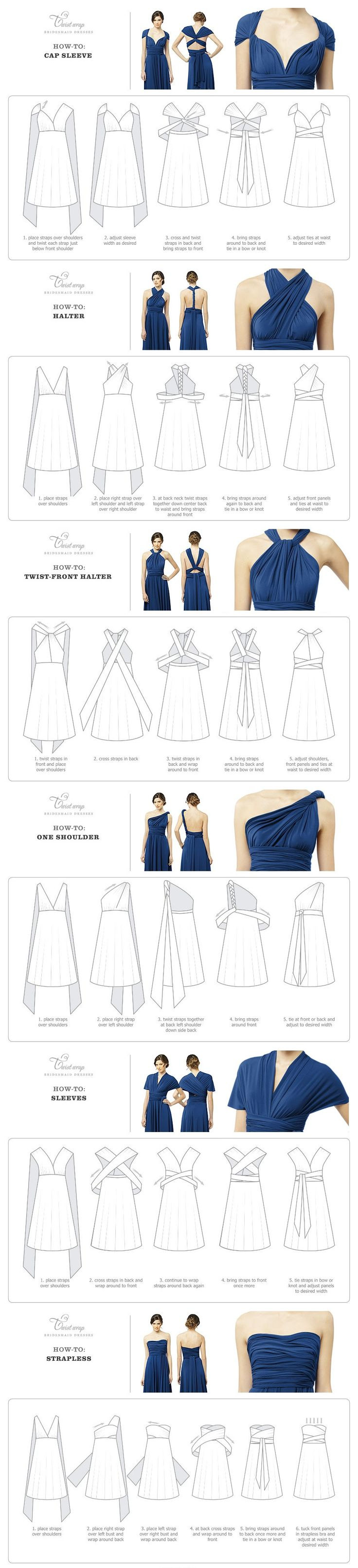 Twist Wrap Dress - How-To-Wear instructions - need to buy one of these.