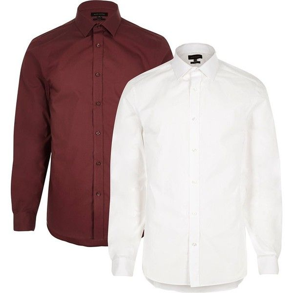 River Island White and red smart slim fit shirt multipack (€34) ❤ liked on Polyvore featuring men's fashion, men's clothing, men's shirts, men's dress shirts, shirts, white, mens slim fit white shirt, mens formal dress shirts, mens cotton shirts and mens dress shirts