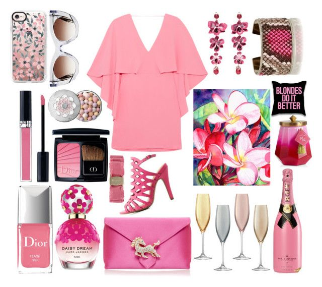 Pinks are a no - brainier!! by pulseofthematter on Polyvore featuring polyvore fashion style Halston Heritage Charlotte Russe Wilbur & Gussie Etro Thierry Lasry Salvatore Ferragamo Casetify Guerlain Christian Dior Marc Jacobs LSA International Illume clothing