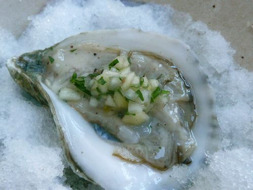 For oyster lovers only. Oysters on the half shell with Apple Mignonnette. #oysters, #apples