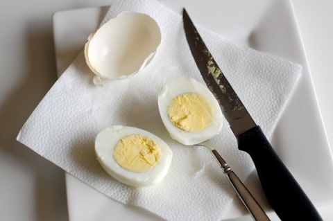 """""""Instead of peeling hard boiled eggs, cut through the shell with a sharp knife and then scoop out the egg with a spoon."""" tried this today it works! All those egg dishes I love making so easy."""