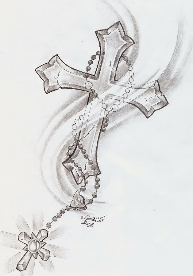 neck rosary tattoo designs | Cross And Jesus Grey ink Tattoo On Man Right Half Sleeve #crosstattoosonneck