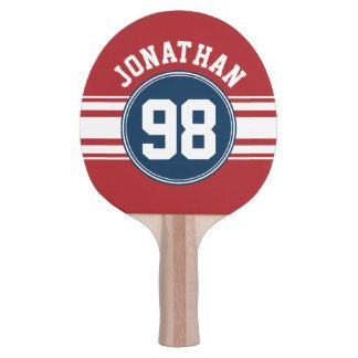 Sports Jersey Navy Blue & Red Stripes Name Number Ping Pong Paddle