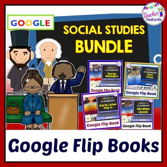 Teach 1st, 2nd, 3rd & 4th grade students about important people in American History: Martin Luther King Jr., Rosa Parks, Abraham Lincoln and George Washington with this engaging flip book bundle for Google Classroom. Each interactive flip book is 9 pages and includes comprehension questions. #tptdigital