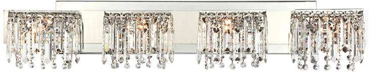 """Possini Euro Design Hanging Crystal 33 3/4"""" Wide Bath Light - $249.99  Chrome finish.   • Hanging crystals.   • Includes four 40 watt halogen bulbs.   • 33 3/4"""" wide.   • 6"""" high.   • Extends 4"""" from the wall."""
