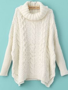 Winter Fashion White Long Sleeve Turtleneck Chunky Cable Knit Sweater. This is the perfect cold weather staple piece for any outfit. With a cowl neck and cable knit this sweater is the top of this win