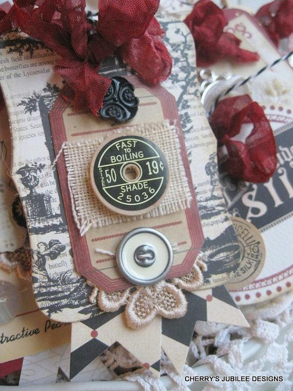 vintage style BURLAP toile PARISIAN SEWING pocket full of ...