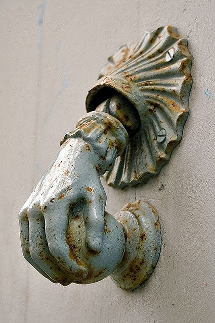 Knock, knock. What a beautiful antique figural door knocker. So much better than a doorbell.