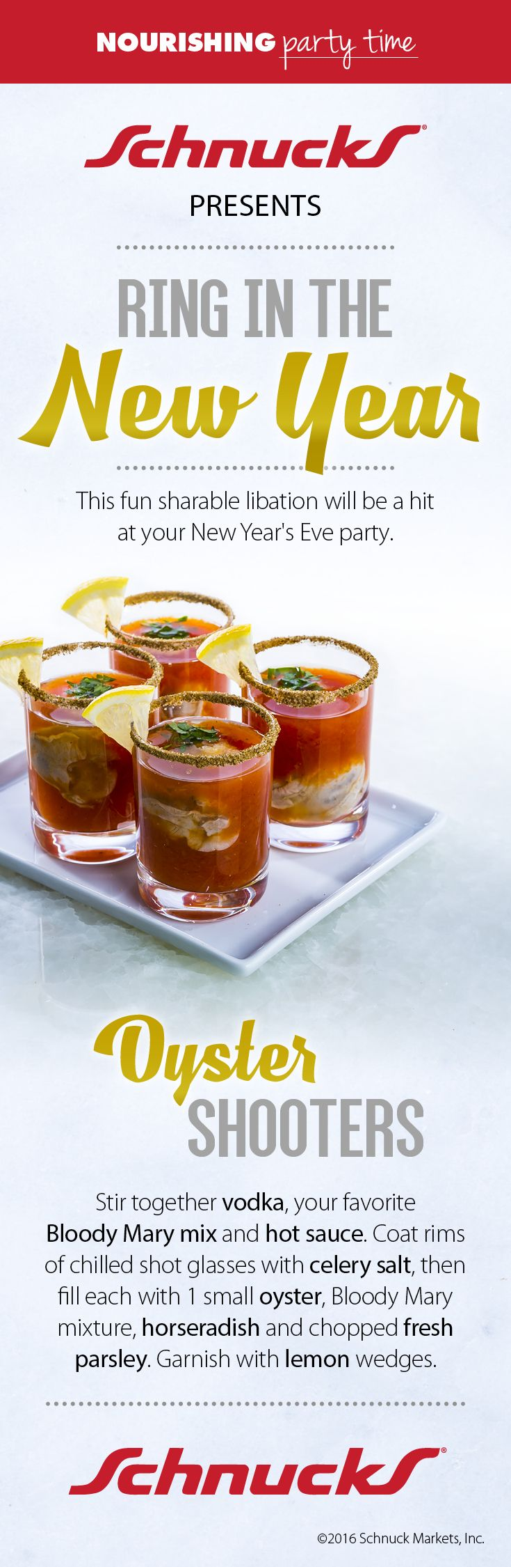 Start the New Year off right with Oyster Shooters! All you need is vodka, Bloody Mary mx, hot sauce, oysters, horseradish and chopped fresh parsley.
