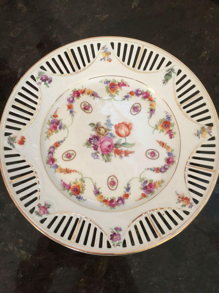 Schumann Bavaria Vintage Floral Ribbon Plate