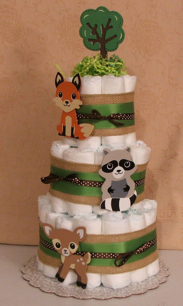3 Tier Diaper Cake Woodland Forest Friends Clever Fox Baby Shower Centerpiece #Handmade