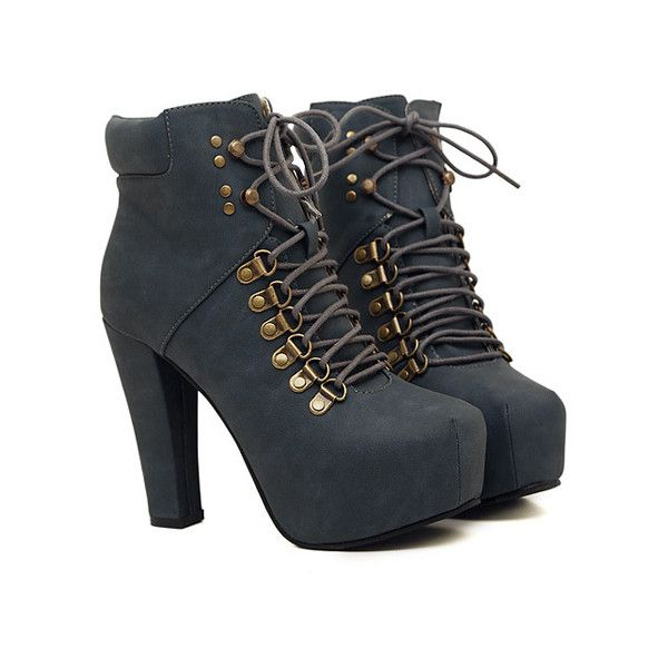 Elegant Women's Short Boots With Chunky Heel and Solid Color Design found on Polyvore