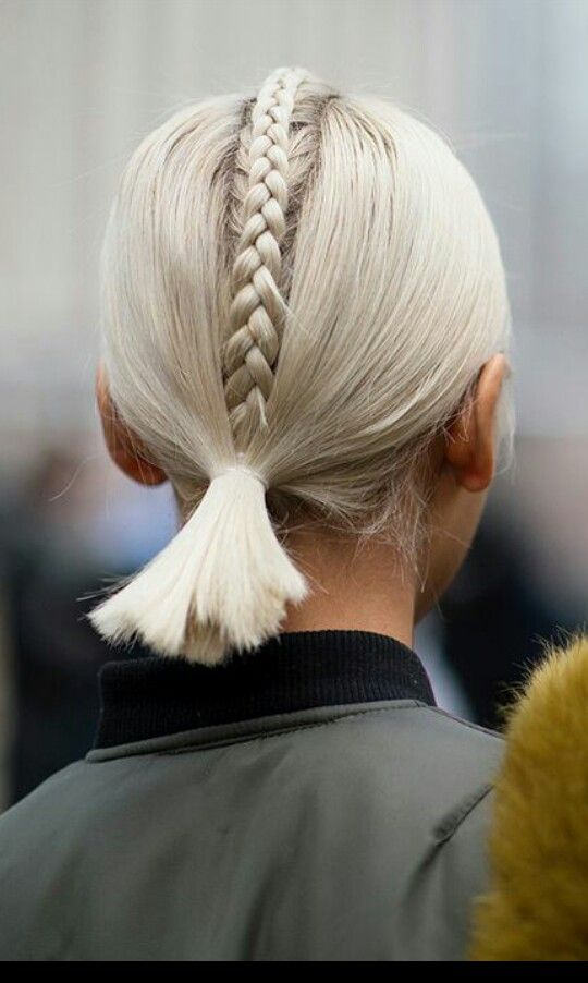 french plait mohawk detail into low ponytail