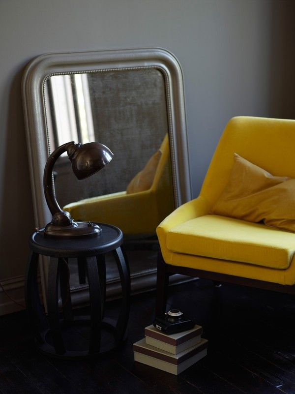 Yellow chair  grey walls...yum  emmas designblogg - design and style from a scandinavian perspective