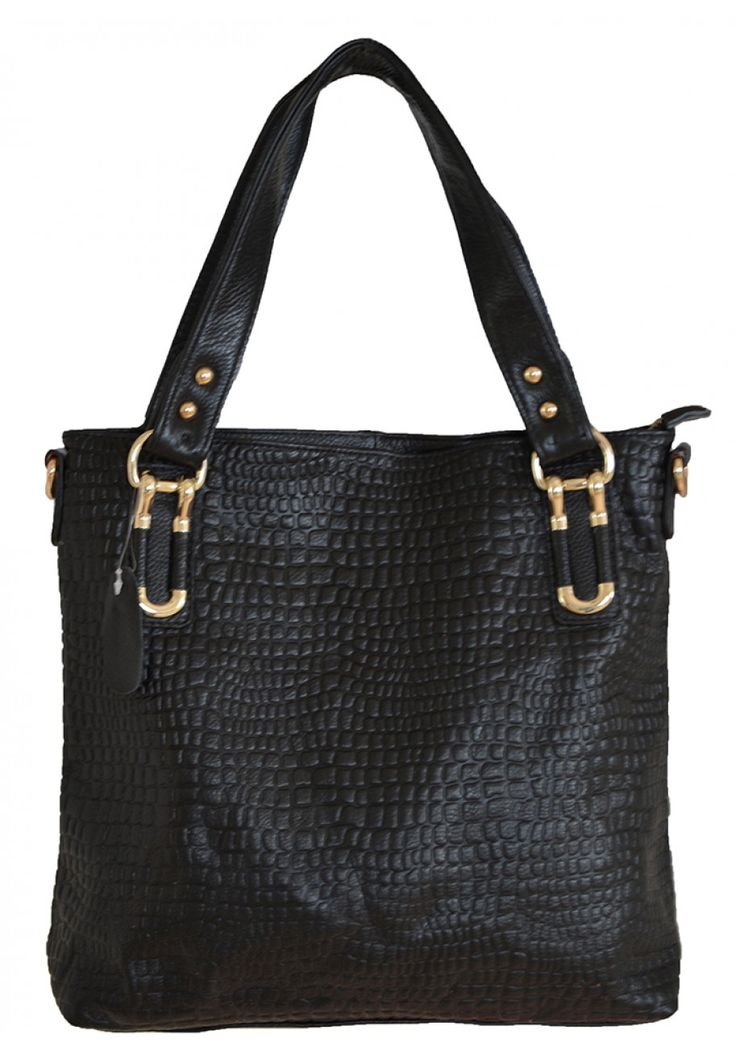 Chantalle Levesque -- Women's Black Leather Tote with Crocodile Emboss
