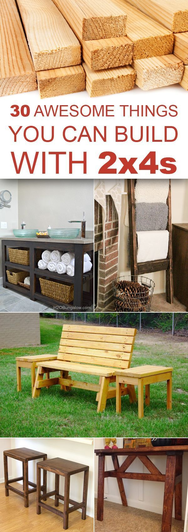 30 Awesome Things You Can Build With 2x4s (Diy Bench 2x4)