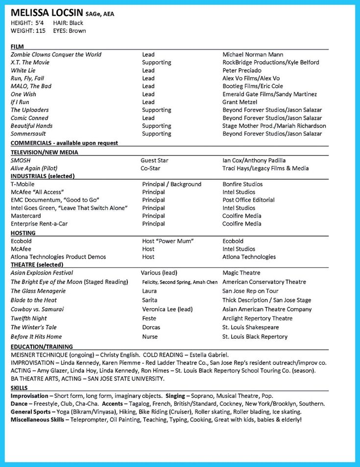 best 25 acting resume template ideas on pinterest good resume - Actor Resume Builder