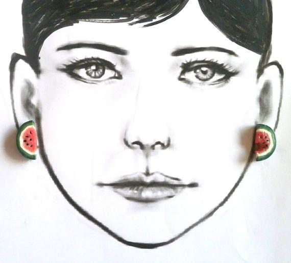 Watermelon post earrings polymer clay by Lijoux