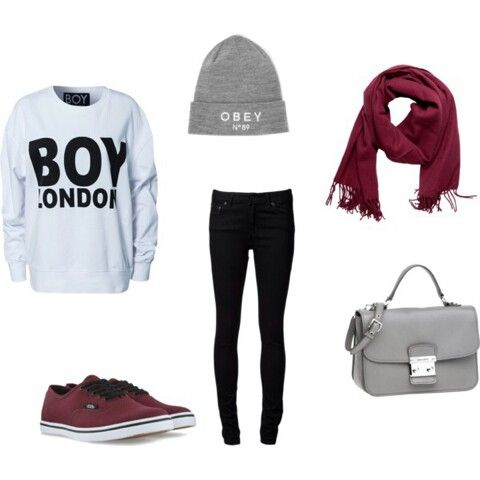 Cute fall outfit winter obey grey hat rd scarf black leggings pants ootd outfit white sweater ...