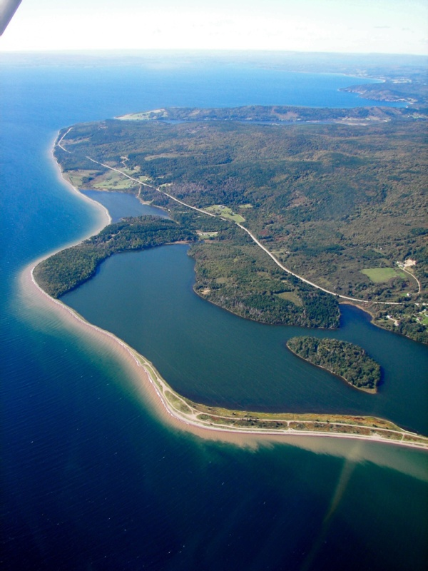 An aerial view of Bras d'Or Lake. Bras d'Or Lake is an inland sea of partially fresh/salt water in the center of Cape Breton Island in the province of Nova Scotia, Canada.