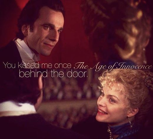 """Michelle Pfeiffer as Ellen Olenska been introduced to Newland Archer (Daniel Day Lewis) in the Martin Scorses film THE AGE OF THE INOCENCE.  ...""""you kissed me once behind the door""""..."""